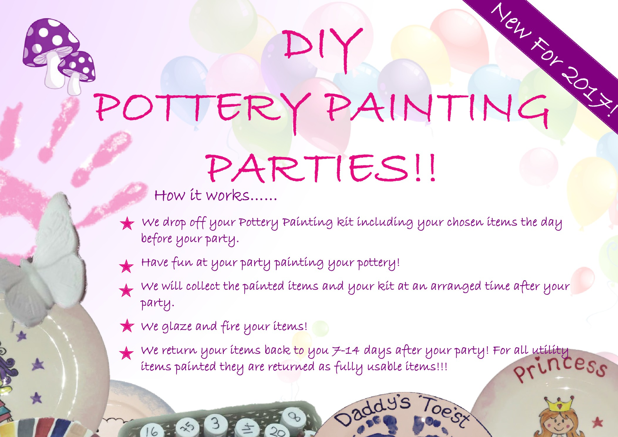 DIY Pottery Painting Parties - Kate Creative